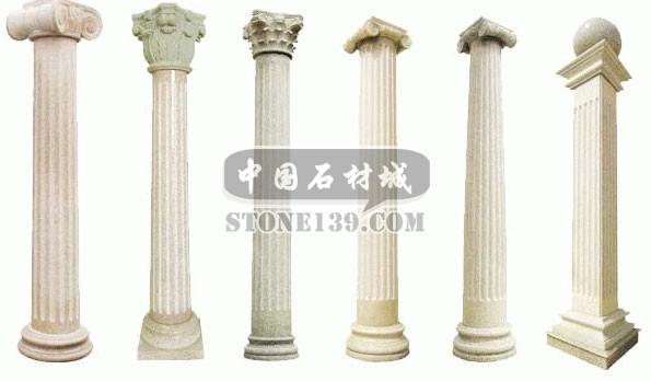 罗马柱用泉州白石材加工的效果和相关的价格