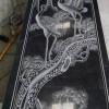 芝麻黑石材浮雕产品(松鹤延年)
