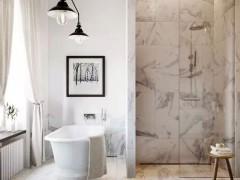 白色大理石浴室墙面 地面装饰