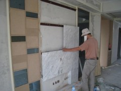 进口白色大理石电视背景墙面安装