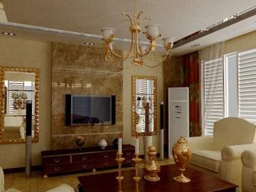 简单背景墙装饰 米黄大理石电视背景墙
