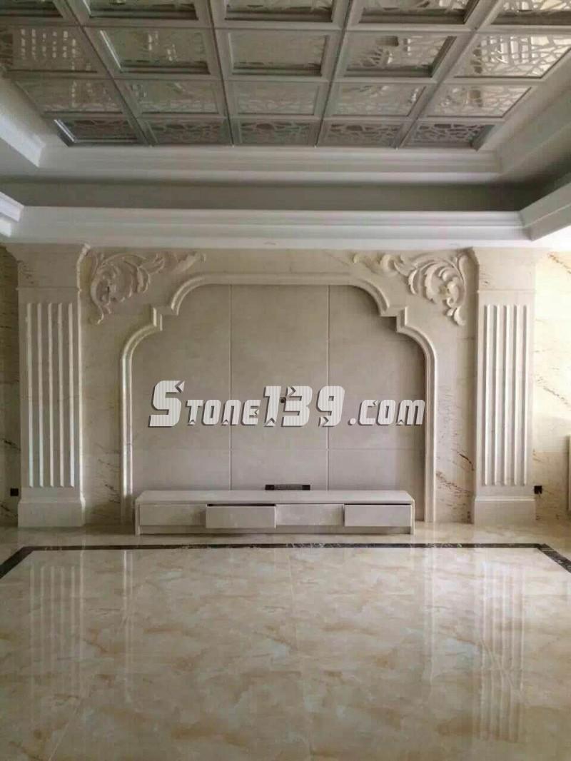 水头九龙石业专注石材电视背景墙装饰设计安装一体化