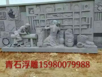 青石园林雕刻石材 历史典故场景雕刻 石雕