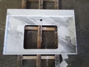 白色大理石台盆面 挖孔 台下盆