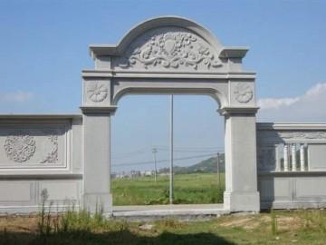 石材院子 围墙 拱门配套 带浮雕 栏杆 窗花