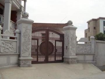 泉州地区私人豪宅大门 院子装饰 石材装修栏杆 围墙