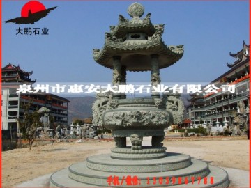 福建石雕工艺品 寺庙双龙青石香炉 石刻香炉