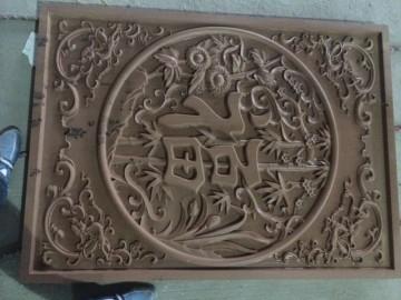 庭院围墙石材雕刻 浮雕 福字