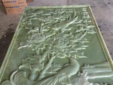 """绿色玉石雕刻 """"富贵祥和""""-- 天豪艺品雕刻中心"""