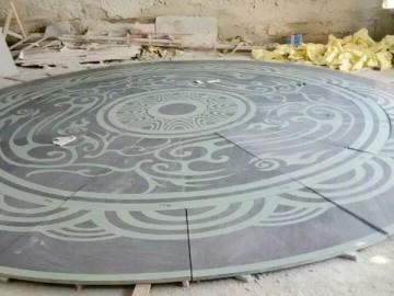 石材喷砂 环形拼图效果 图案可按客户需求定制-- 亿丰石材工艺