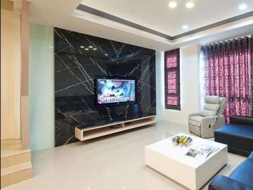 黑色大理石电视背景墙