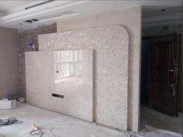 现代简约中国风三层创意大理石背景墙装饰