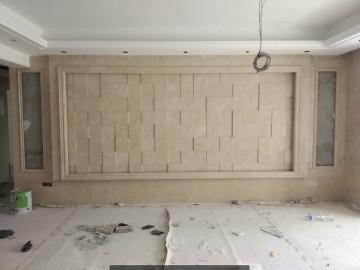 石材背景墙 方块格子凹凸效果拼贴