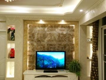 咖啡色石材电视背景墙