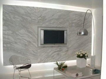 白色大理石电视背景墙