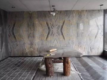 灰色大理石拼板背景墙