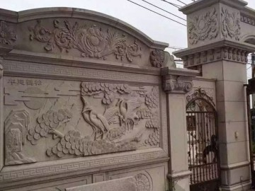 别墅围墙异形石材产品 浮雕系列-- 辉红石业