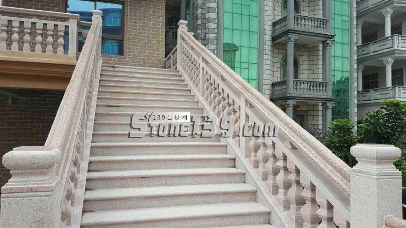 光泽红 楼梯栏杆扶手 台阶石