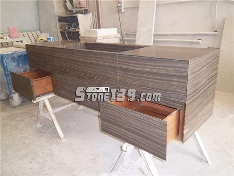 奥巴马木纹柜台整体装饰效果-- 厦门源德石业有限公司
