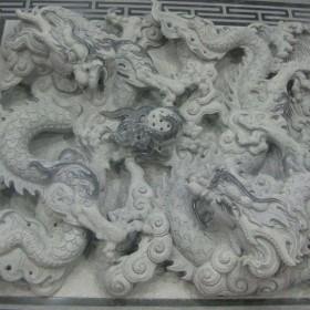 惠安石雕 龙图腾浮雕 双龙戏珠