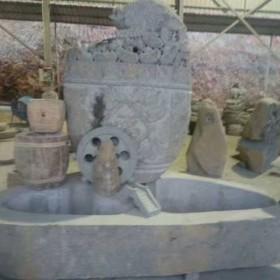 流水鱼缸石雕 园林摆设