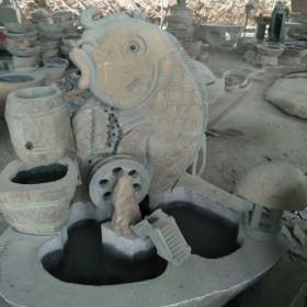 鱼雕刻装饰 流水鱼缸石雕