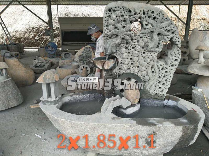 石材雕刻装饰 园林流水池鱼缸