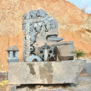 腾翔石趣景观石雕丰收流水鱼缸