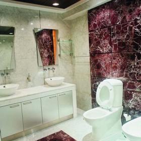 紫罗红大理石洗手间立面装饰