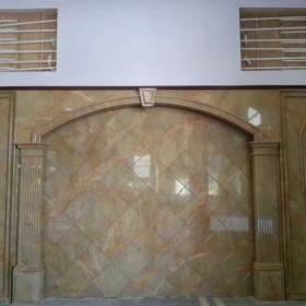 晋江安海镇石材背景墙 黄金网背景墙