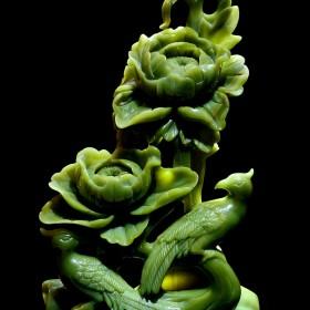玉石绿植精雕 玉石工艺装饰品
