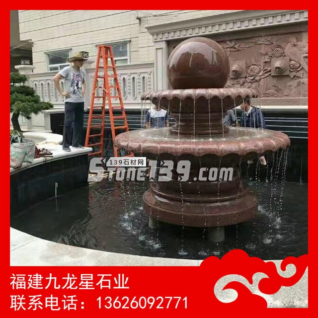 风水球加工厂 枫叶红风水球 石材喷泉雕塑-- 福建九龙星石业发展有限公司