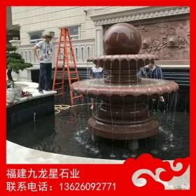 风水球加工厂 枫叶红风水球 石材喷泉雕塑