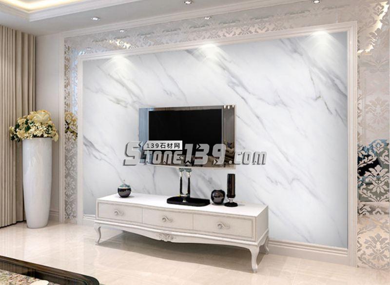 白色石材 大理石电视背景墙