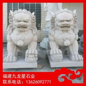 石狮子现货 荔枝面雕刻石狮子 神兽加