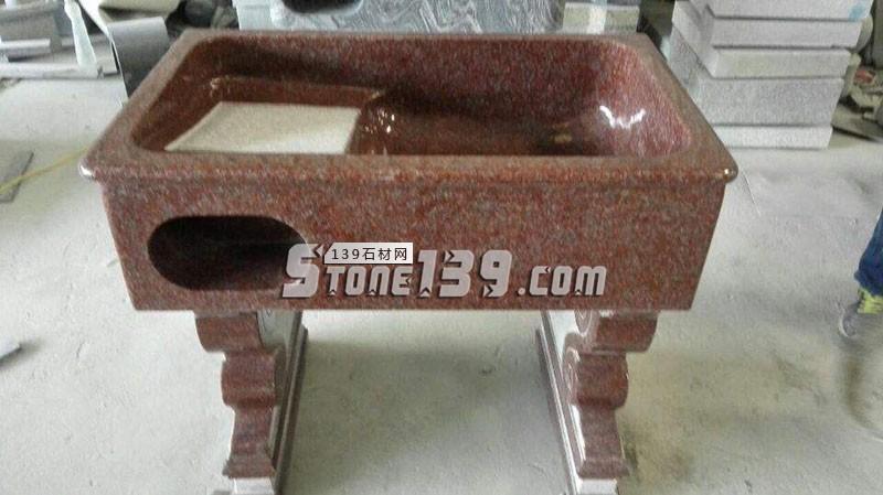 红色花岗岩洗衣池配搓衣板-- 水头石材洗衣池