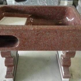 红色花岗岩洗衣池配搓衣板