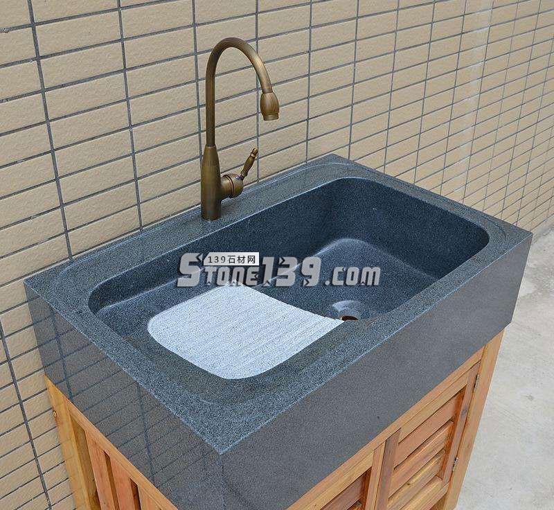 水头芝麻黑通体洗衣池成品-- 水头石材洗衣池