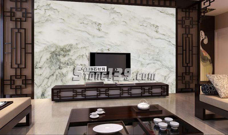 山水画石材电视背景墙