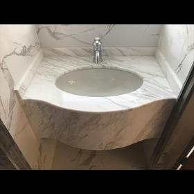 爵士白大理石洗手台 石狮大理石台面