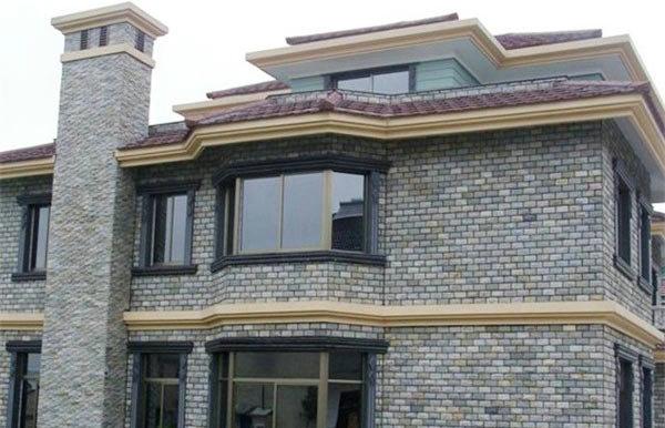 别墅外墙石材马赛克应用-- 富瑞石材