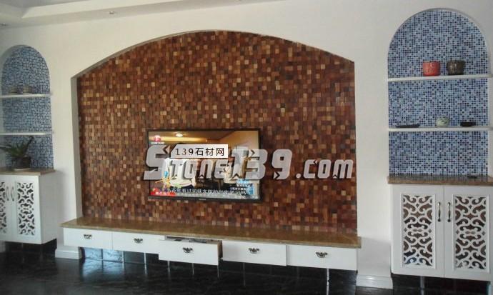 小方块石材马赛克电视背景墙-- 富瑞石材