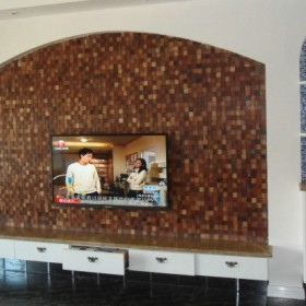 小方块石材马赛克电视背景墙