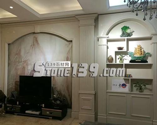 大理石罗马柱电视背景墙-- 赛迪石材罗马柱