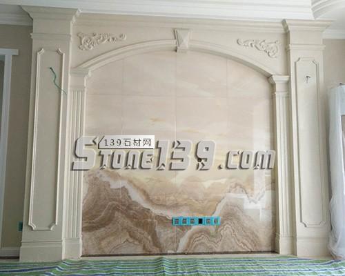 大理石家装 罗马柱装饰背景墙
