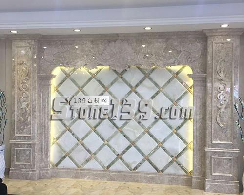 福建内装大理石罗马柱背景墙-- 赛迪石材罗马柱