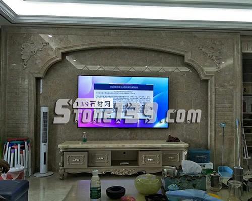 大理石罗马柱装饰电视背景墙-- 赛迪石材罗马柱