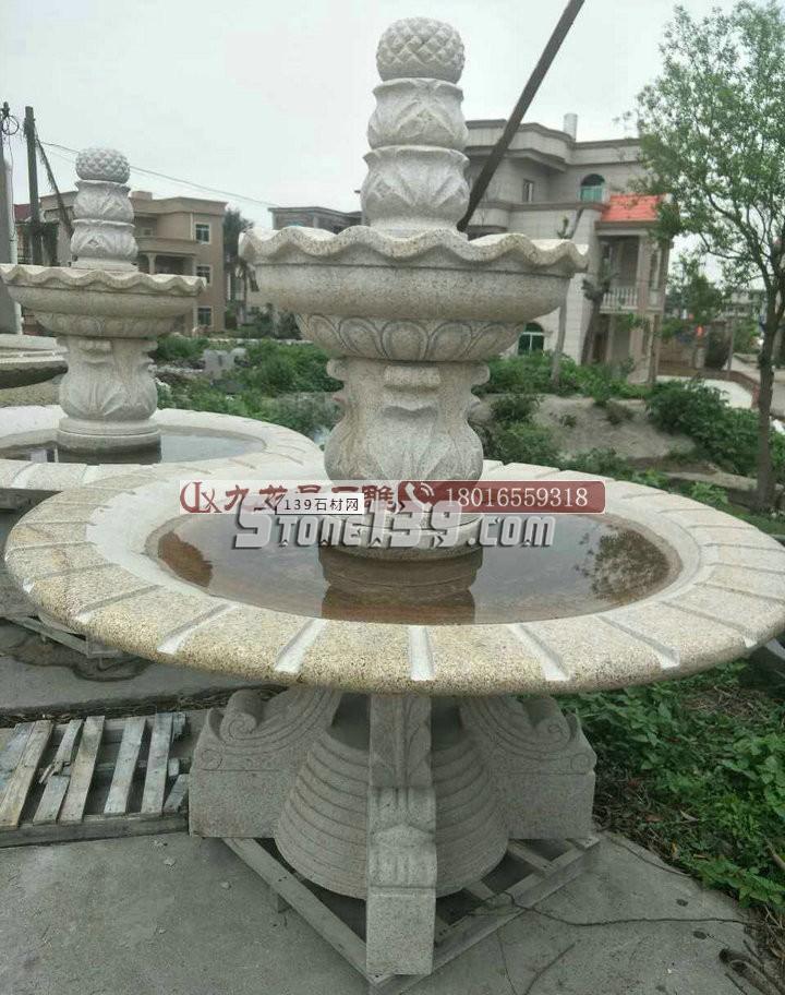 黄锈石石雕喷泉 广场公园大理石流水石雕水钵新款石雕喷泉-- 福建省九龙星园林古建有限公司