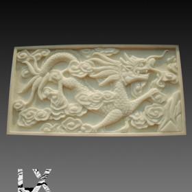 纯手工雕刻汉白玉龙形浮雕雕刻牌
