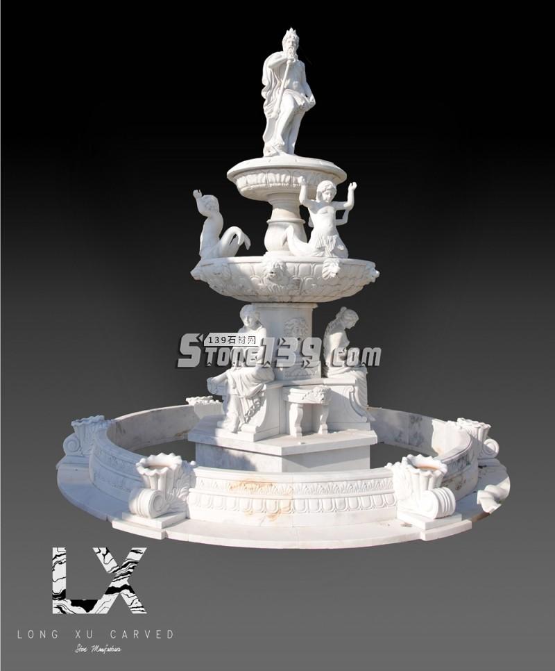 汉白玉西式三层景观喷泉-- 龙旭石材有限公司